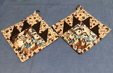 Patchwork Quilted Pot-holder, handmade, cotton & thermal fabrics, set of 2, dogs