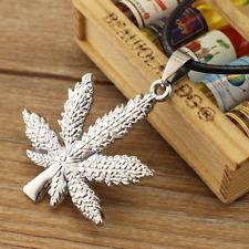 Fashionable silver Marijuana Leaf Weed Cannabis Pot Hip Unisex Pendant Necklace