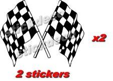 stickers x2 macbook laptop voiture moto double drapeau autocollant damier course