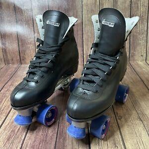 """Vintage Men's """"Chicago"""" Roller Skates Black Leather US Men Sz. 11 w/ Blue Wheels"""