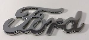 Vintage 1940 Style Ford Script Chrome Metal Emblem Stick on Double Sided Tape