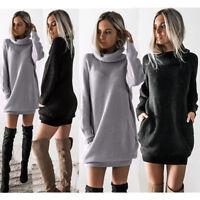Women Chunky Knitted Dress Roll Neck Jumper Sweater Warm Winter Loose Mini Dress