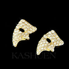 w Swarovski Crystal ~Phantom of the Opera~ Masquerade Mask Gold Pl Stud Earrings