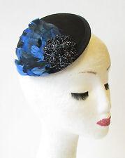 Black Blue Feather Pillbox Fascinator Races 1940s Hair Vintage Clip Ascot 1431