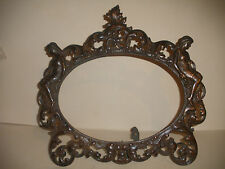 ANTIQUE VICTORIAN 19THC CAST IRON FRAME WITH WOMAN NUDE FOR TABLE MIRROR PICTURE