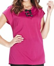 Plus Size 22 Hot Pink Black Cap Sleeve Blouse Tunic Top BNWT