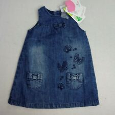 NWT Topomini Girls Size 80 Demin Jumper Embroidered Butterflies Bow Pockets QQ29