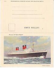 Queen Elizabeth Cunard Ocean Liner Vintage Letter Card 1950s