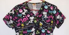 Nurse Scrub Snoopy Woodstock Peanuts XS Laugh Out Loud V-Neck Pullover LOL