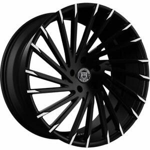 "4ea 22"" Lexani Wheels Wraith Black W Machine Tips Rims (S41)"