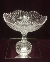"VTG. Large Shannon Lead Crystal Pedestal Centerpiece Bowl Heavy 12""H"