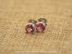 2Ct Round Brilliant Cut Red Ruby Solitaire Stud Earrings 14K White Gold Over