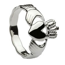 Shank Claddagh Ring 10mm Sterling Silver Ladies Braided