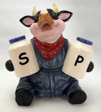 COW Salt and Pepper Shakers Holder FARM Barn Dairy Holstein Elsie Country CUTE!!