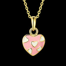 NEW ARRIVAL FASHION GOLD PLATED NECKLACE WITH PINK HEART PENDANT DESIGN