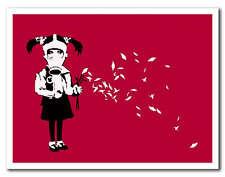 "BANKSY GAS MASK GIRL Petals *FRAMED* CANVAS ART 24x16"" - red"