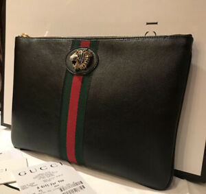 Stunner! Authentic Gucci Rajah Signature Pouch Clutch Bag NWT Black Limited Edit