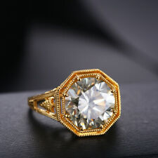13mm Round 7.3ct Flawless Cubic Zirconia Classic Vintage 14K Yellow Gold Ring