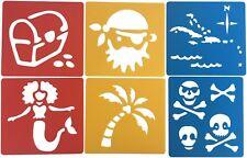 6 Stencils Kids Pirate Afro Mermaid Caribbean Islands Map Crayoning School Craft