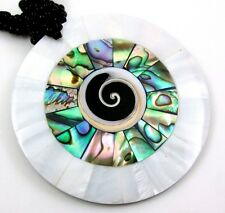 """Handmade 2.4"""" Abalone Shell Mother of Pearl Shiva Eye necklace 18.5"""" long; CA285"""