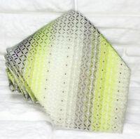 Necktie men Light green & gray striped tie Made in Italy 100% silk Morgana brand