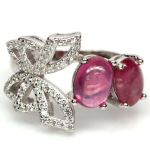 NATURAL 5 X 7 mm. PINK RUBY & WHITE CZ 925 STERLING SILVER RING SZ 6.25