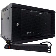 "6u 19"" 450mm Deep Black Wall Mounted Data Cabinet & 4 Way PDU UK- Horizontal"
