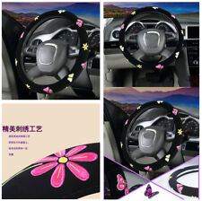 38cm Embroidery Car Truck Steering Wheel Covers Hub Accessories For Women Girl