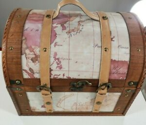 Vintage Cedar Lined Travel Case Leather Straps Decorator Collectible