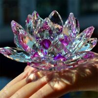 LARGE PURPLE CRYSTAL LOTUS FLOWER ORNAMENT LARGE CRYSTOCRAFT HOME DECOR