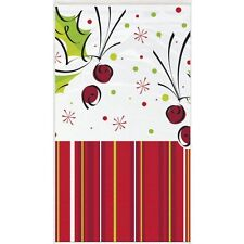 HOLLY POP PLASTIC Tablecover - 1.37 x 2.74 m-Natale Inverno Partito vasellame