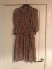 Mango Casual Sportswear Tile Print Autumn Dress Size L Pockets Buttons Collar