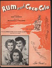 Rum and Coca Cola 1944 Andrews Sisters Cover #1 Sheet Music