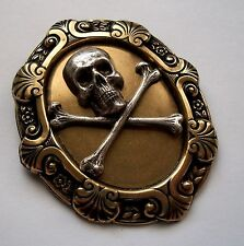 SKULL CROSSBONES Silver & Gold Pltd BROOCH Renaissance Pirate Hat Pin Halloween