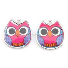 20x 143454 Wholesale Charms Enamel Clear Owl Purple Alloy Pendant Fit Necklaces