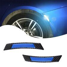 2 Blue Reflective Carbon Fiber Car Wheel Eyebrow Edge Guard Trim Decor Universal