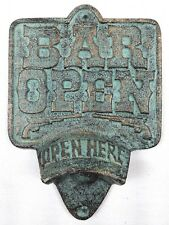 Cast Iron BAR OPEN Bottle Opener Rustic Pistol Wall Mount Open Here Man Cave