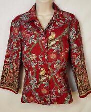 Sharon Young Size 8 Shirt 3/4 Sleeve Birds Flowers Women's