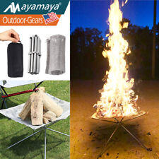 New listing Portable Camping Fire Pit Folding Outdoor Wood Burning Cooking Bonfire Patio Us