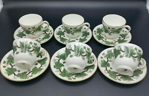 Wedgwood 'Napoleon Ivy' Small Coffee Cups and Saucers-Set of 6-Excellent