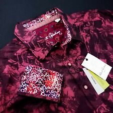 ROBERT GRAHAM Geometric Floral RED ROSE Bold Print Sports Shirt XL $250