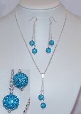 Turquoise Blue Pave Shamballa Style Bead Necklace & Earring Set - NEW