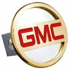 "GMC Gold and Red Stainless Steel 1.25"" Trailer Tow Hitch Cover"