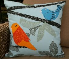 Blue Comical Birds Cushion Cover - 45cm x 45cm