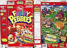 1998 Fruity Pebbles Bedrock Riddles Cereal Box s216