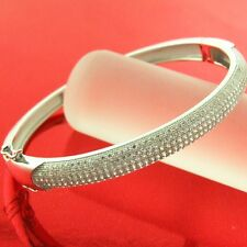 BANGLE BRACELET GENUINE HALLMARKED REAL 925 DIAMOND SIMULATED STERLING SILVER