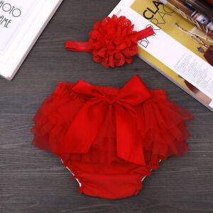 Baby Girls Ruffle Bloomer Newborn Diaper Covers Birthday Shorts Bow Photo Props