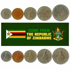 5 COINS FROM ZIMBABWE. 1980-2018. 1-50 CENTS. AFRICAN COLLECTIBLE MONEY