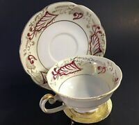 VINTAGE CUP & SAUCER. SCALLOPED PEDESTAL CUP CRANBERRY & GOLD FLORAL DESIGNS