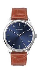 Sekonda Mens Blue Dial Brown Leather Strap Watch 1534 RRP £39.99